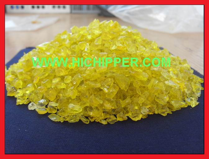 Glass chipping-yellow glass chipping