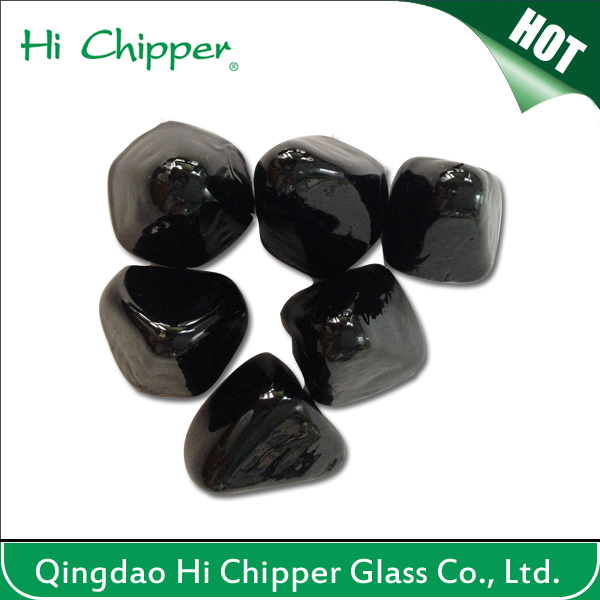 FIRE PIT TUMBLED GLASS-Black