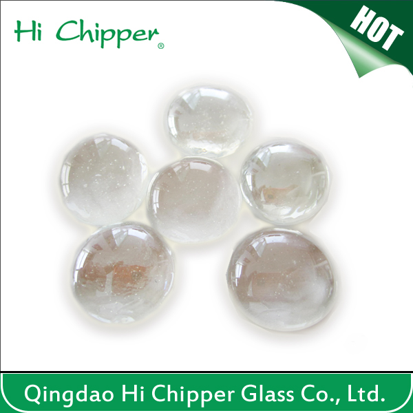 Round Polished Clear Fire Pit Glass