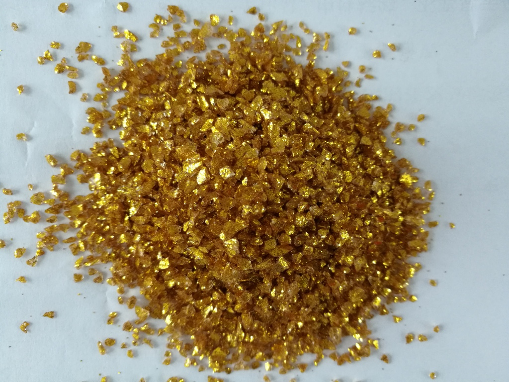 Golden Glittler Crushed Glass Chips Supplier in China